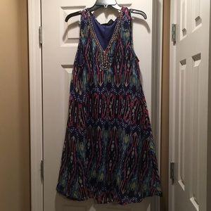 Beaded V neck colorful dress